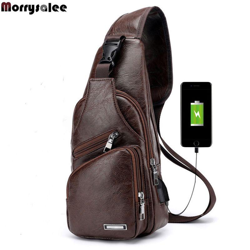 Sacs à bandoulière pour hommes sac de poitrine USB pour hommes sac de messager Designer sacs à bandoulière en cuir paquet diagonale 2018 nouveau sac à dos voyage