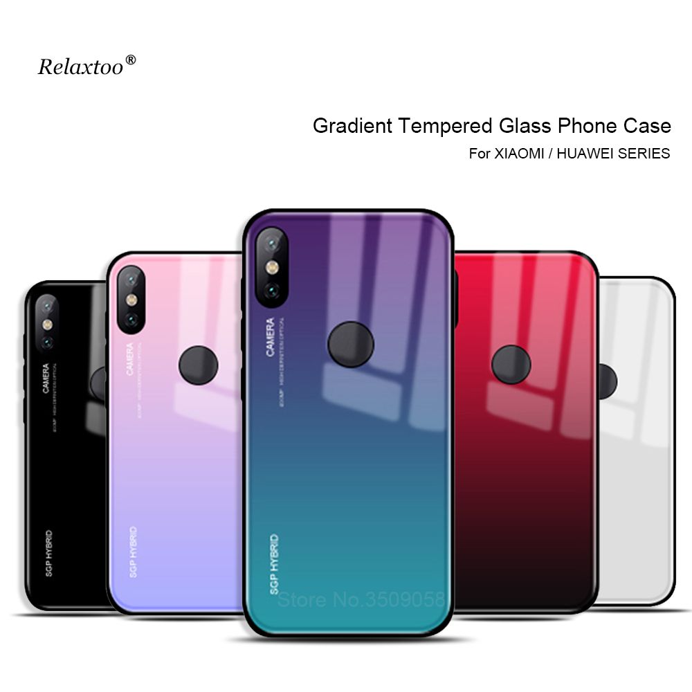 Pocophone F1 Case Gradient Tempered Glass Phone Cases For Xiaomi Mi 8 Lite A2 Lite 9 A1 Mix 2 2s 6 8 se Redmi Note 7 6 Pro Cover