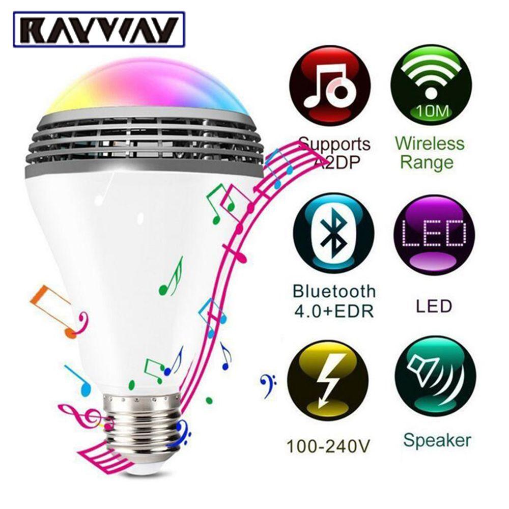Smart RGB Ampoule Bluetooth 4.0 Audio Haut-parleurs Lampe Dimmable E27 LED Sans Fil Musique Ampoule Lumière Changement de Couleur via WiFi App contrôle