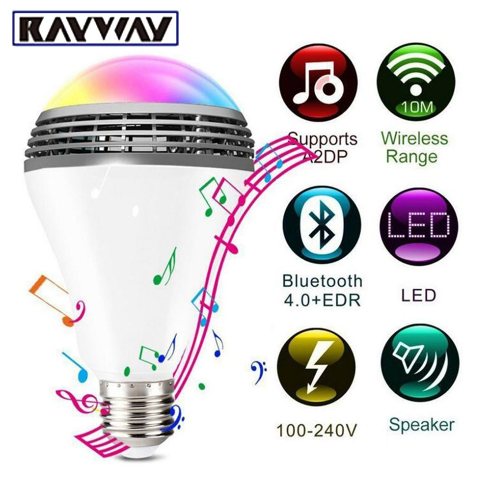 Smart RGB Bulb Bluetooth 4.0 Audio Speakers Lamp Dimmable E27 LED Wireless Music Bulb Light Color <font><b>Changing</b></font> via WiFi App Control