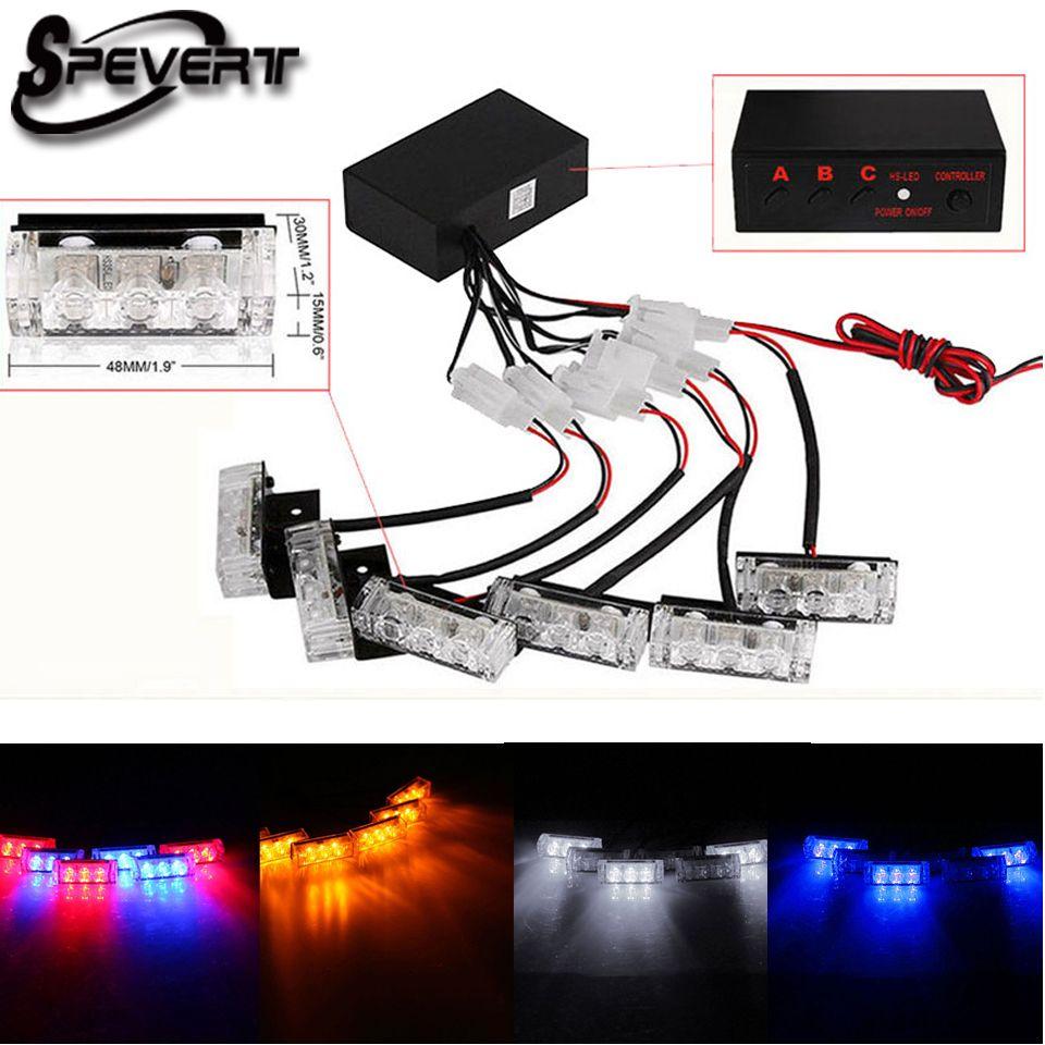 SPEVERT 6x3 LED Universal Car Dash Strobe Flashlight Flashing Light Police Warning Light Blinker Changeable/Blue/ Amber/White