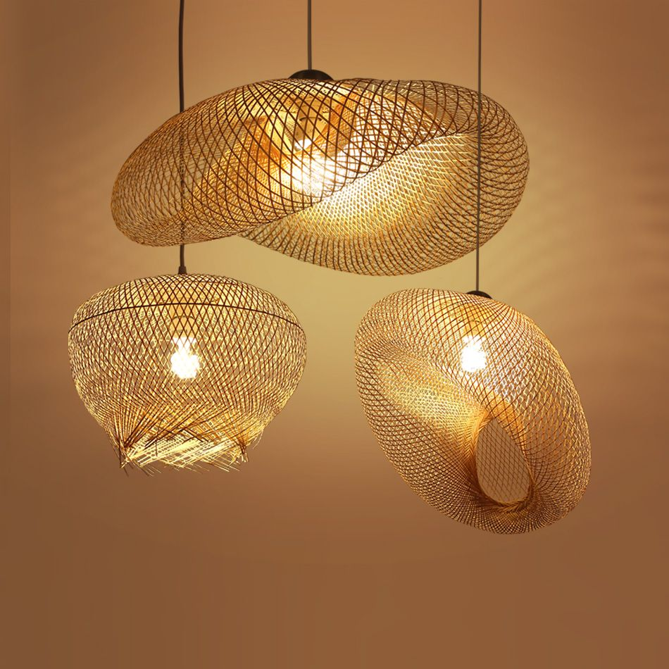 Bamboo Wicker Rattan Wave Shade Pendant Light Fixture Rustic Vintage Japanese Lamp Suspension Home Indoor Dining Table Room