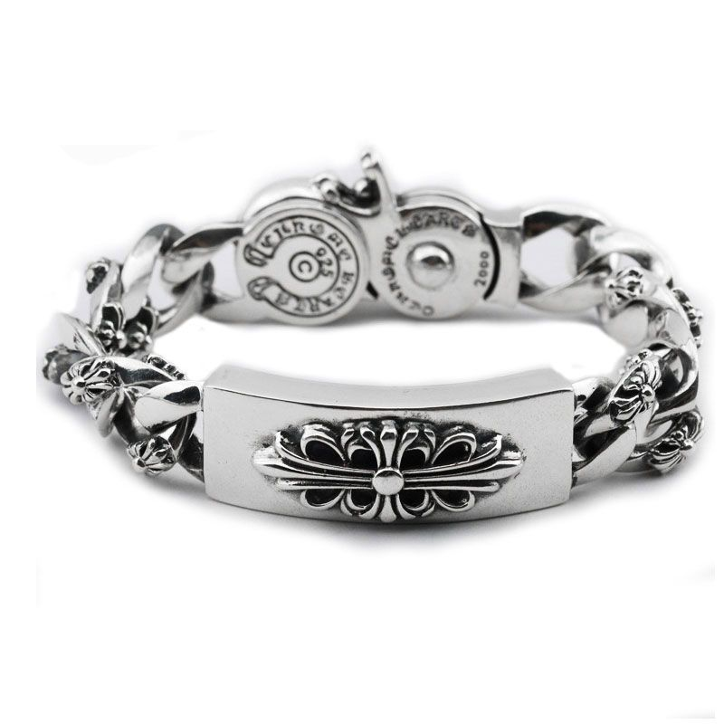925 Silver Cross Bracelet For Men Jewelry Vintage Width 16.6mm Real 100% S925 Solid Thai Sterling Silver Statement Big Bracelets