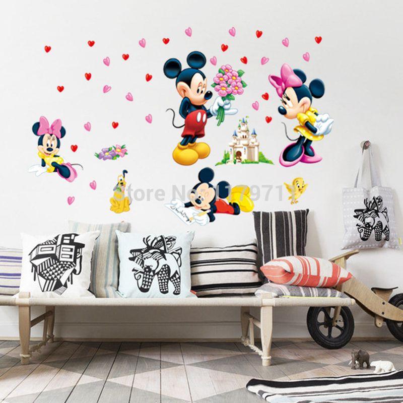 Zs Autocollant Mickey Mouse et Minnie Mouse Wall Sticker Home décor de Bande Dessinée Sticker Mural pour Chambre D'enfants Sticker Bébé Murale pépinière
