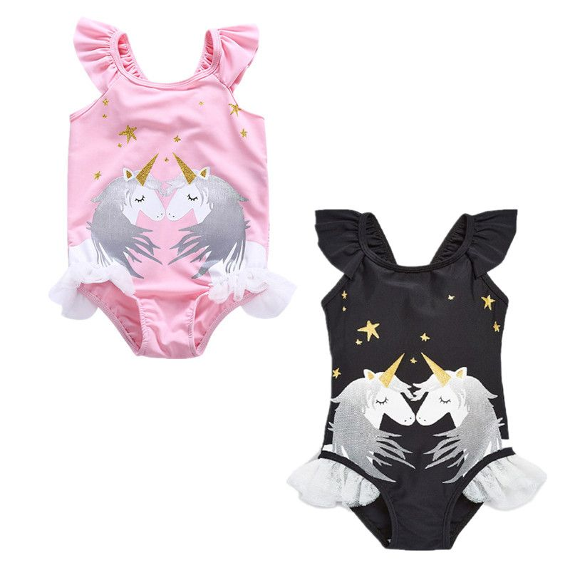 Baby Girls Unicorn Swimwear One Pieces Girls Ruffle Bikini Set Summer Princess Girls Unicorn Horn Beachwear Bathing Suit D0841