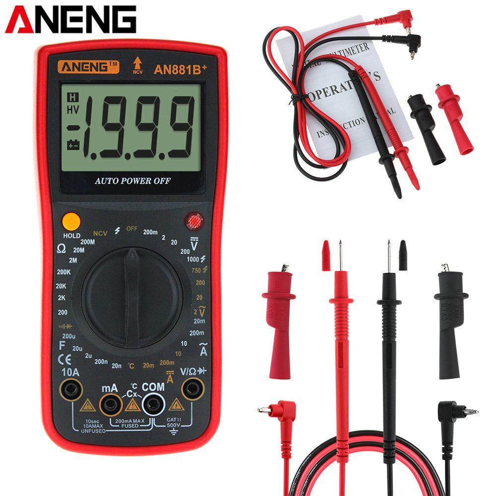 ANENG AN881B+ Digital Multimeter AC DC Voltage Current Capacitance Resistance Temperature Diode Triode Tester + Crocodile Clip