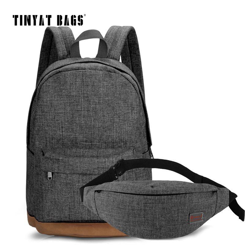 TINYAT Men Canvas Backpack School Casual Laptop Backpack Gray Composition Bags Leisure Male Waist Belt Bag Crossbody t101 t201