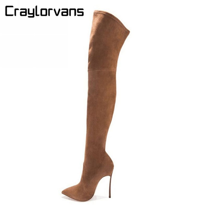 Craylorvans 2017 NEW Autumn Winter Women Boots Stretch Suede Thigh High Boots Over the Knee Boots High Heels Shoes Woman Sapatos