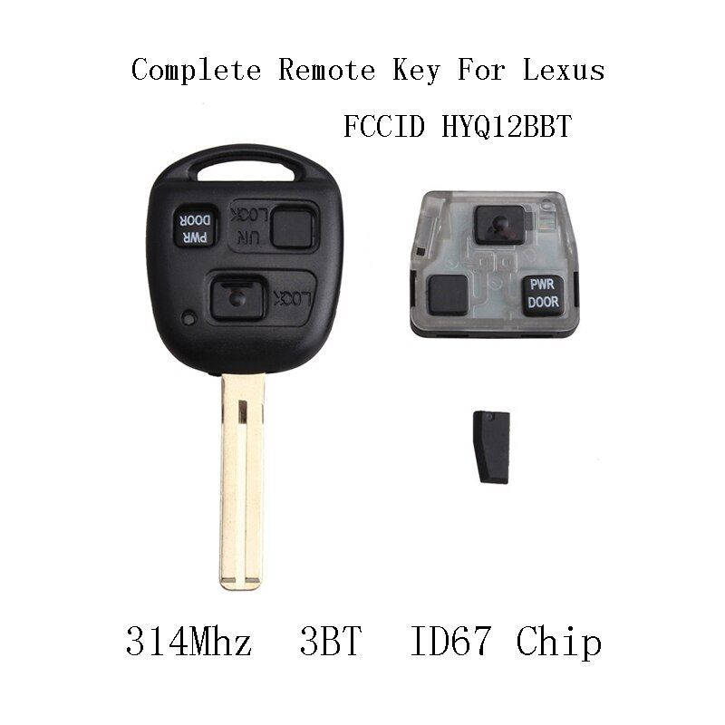 3Buttons 314Mhz Complete Remote Key ID67 Chip For Lexus RX350 RX450h RX400h RX330 2004-2010 For Lexus HYQ12BBT