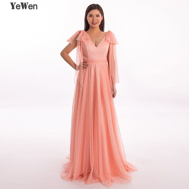 Simple Dot V neck Long Sleeve A Line Evening Dress 2018 Long Backless Floor Length Party Gown Peach Color Dresses Robe De Soiree