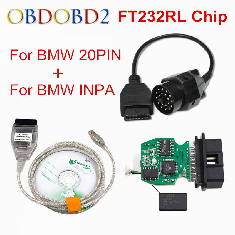 New For BMW INPA K can inpa FT232RL Chip k dcan USB OBD2 Interface INPA Ediabas for BMW with 20PIN To 16PIN Best Discount