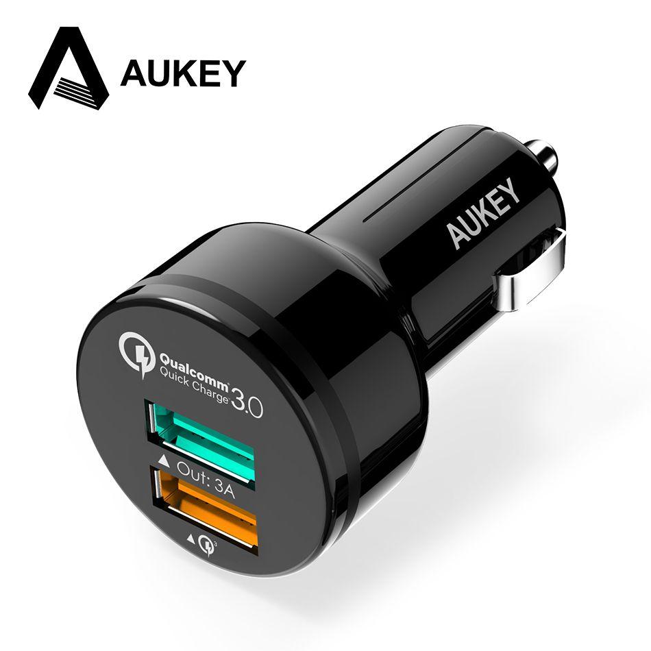 AUKEY Pour Qualcomm Rapide Chargeur 3.0 9 V 12 V 2 Port Mini USB Chargeur de voiture pour iPhone X 8 7 6 s Samsung HTC Xiaomi QC2.0 Compatible