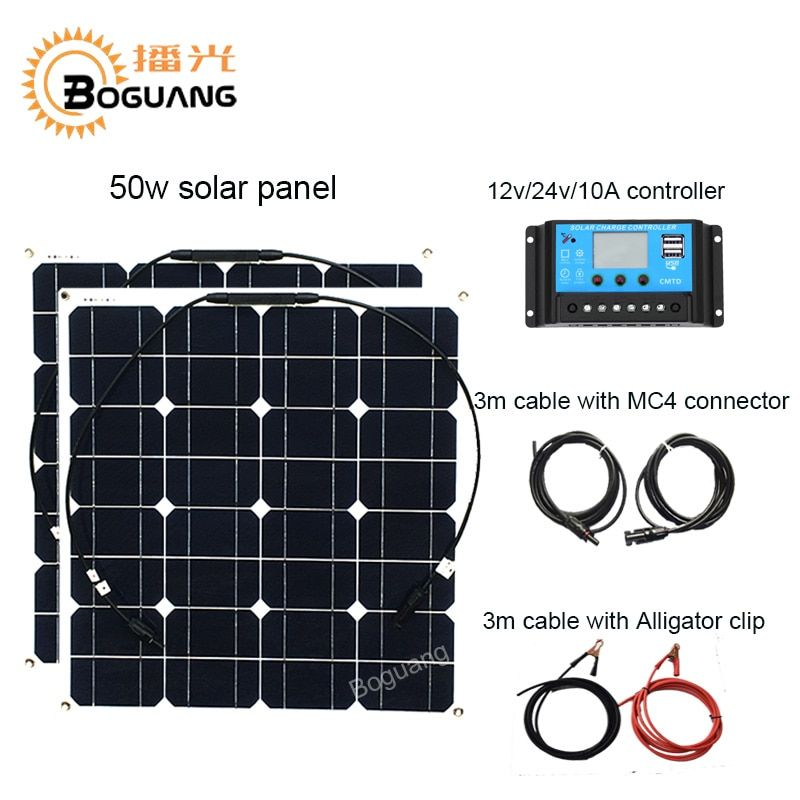 Boguang 50w solar panel 100w solar system Monocrystalline cell module 12v/24v/10A controller cable MC4 connector DIY kit charge