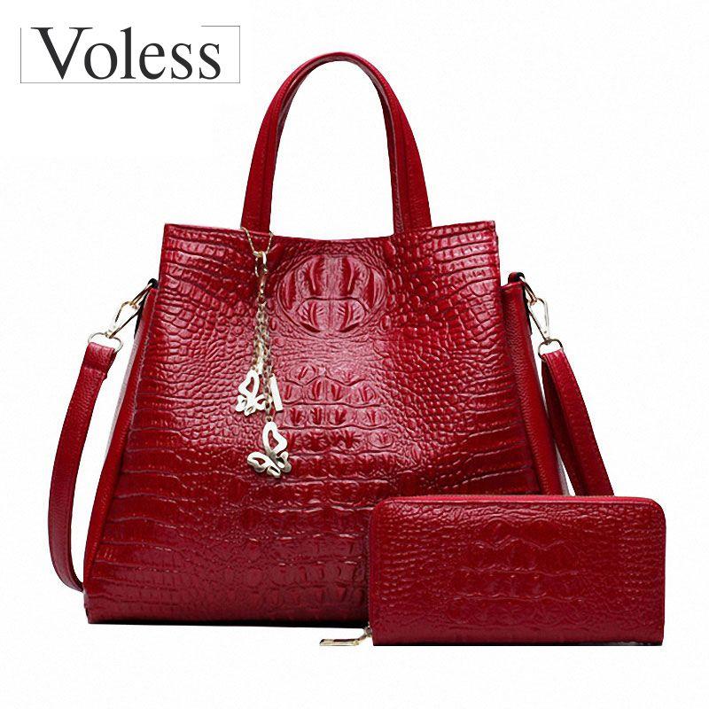 Alligator 2PC Purses Handbag Luxury Handbags Women Messenger Bags Casual Tote Bags Ladies Crossbody Bag For Women Sac A Main