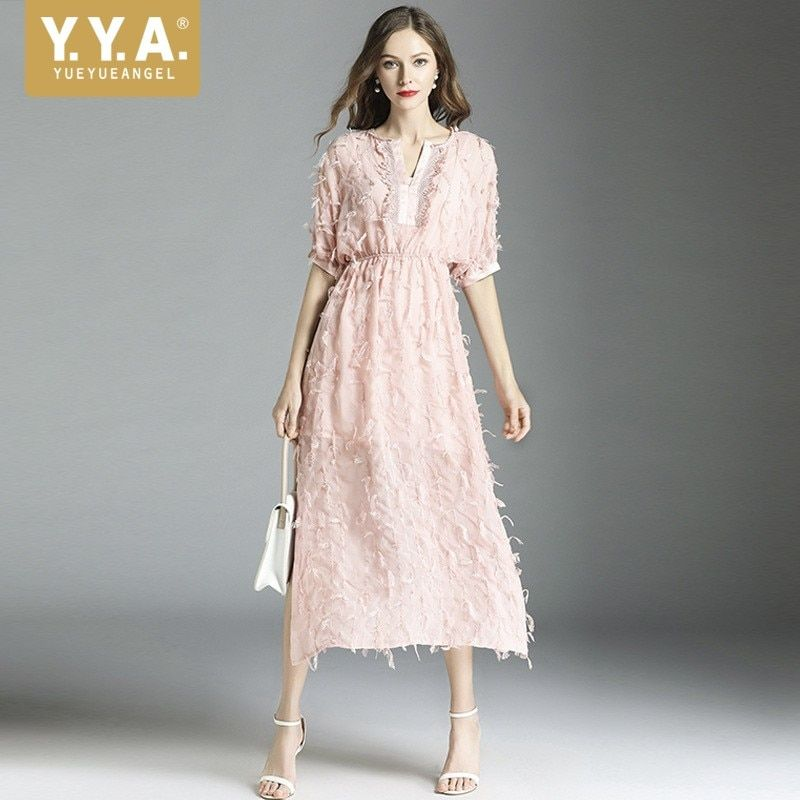 Runway V-Neck Short Sleeve Lace Dress Pink Side Split Sexy Long Dress Designer Summer Tassels Elegant Fairy Dress Robe Femme