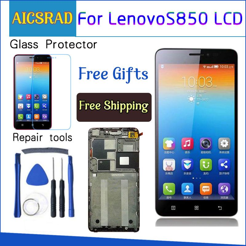 AICSRAD 5.0 LCD For LENOVO S850 Display Screen Digitizer With Frame For LENOVO S850 Display LCD Touch Screen Replacement