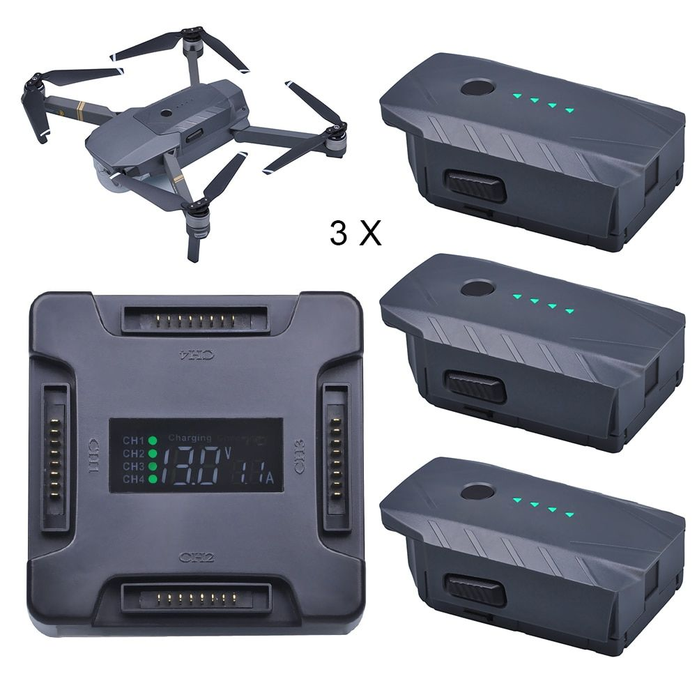 3X For DJI Mavic Pro Battery Intelligent Flight +LCD 4 in1 Battery Charging Hub for DJI Mavic Pro Quadcopter 4K HD Camera Drones