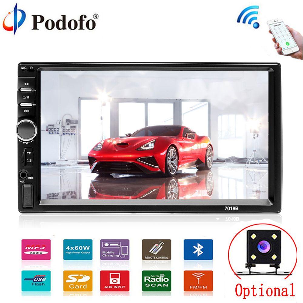 Podofo Voiture Multimédia lecteur Autoradio 2Din 7 HD De Voiture Radio Audio Stéréo Écran Tactile auto MP5 Lecteur Bluetooth TF USB FM caméra