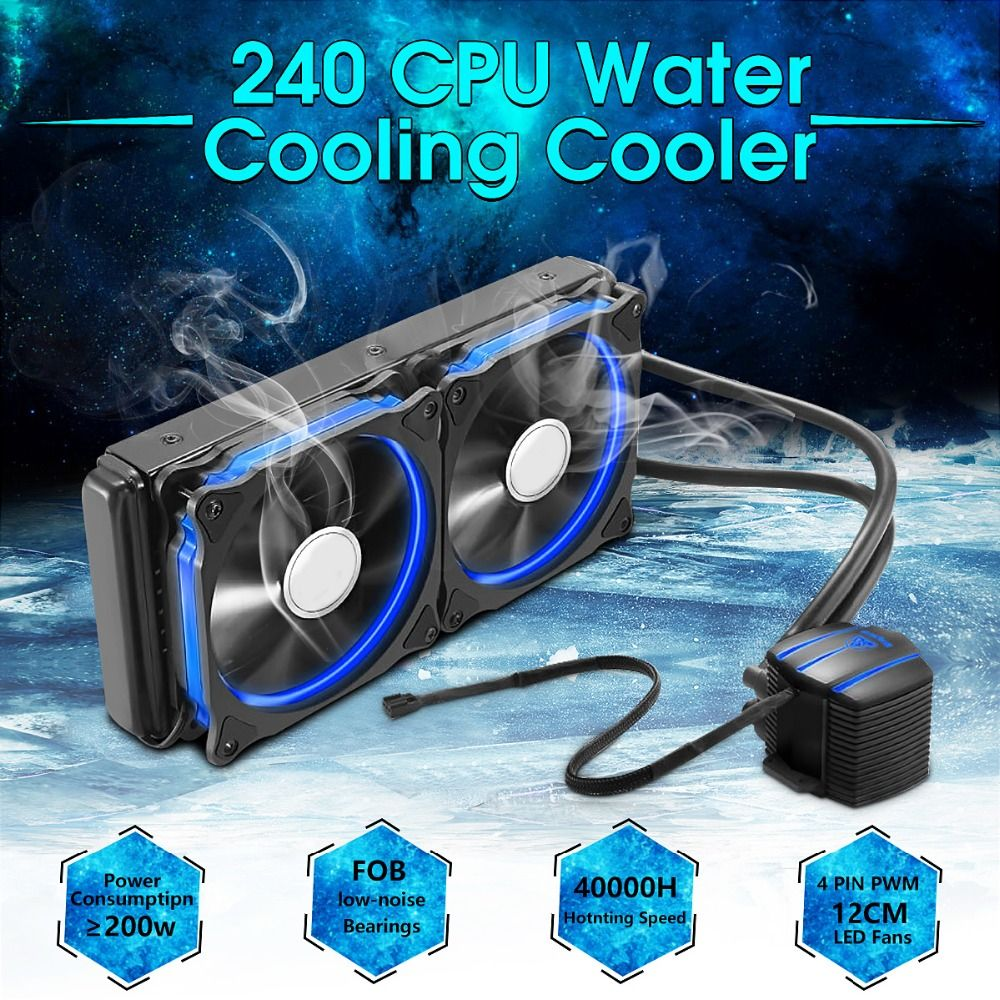 Aluminium CPU Water Cooler Radiator 240 Processor Double PWM 120mm LED Cooling Fan Liquid Water Cooling Cooler PC Case Desktop
