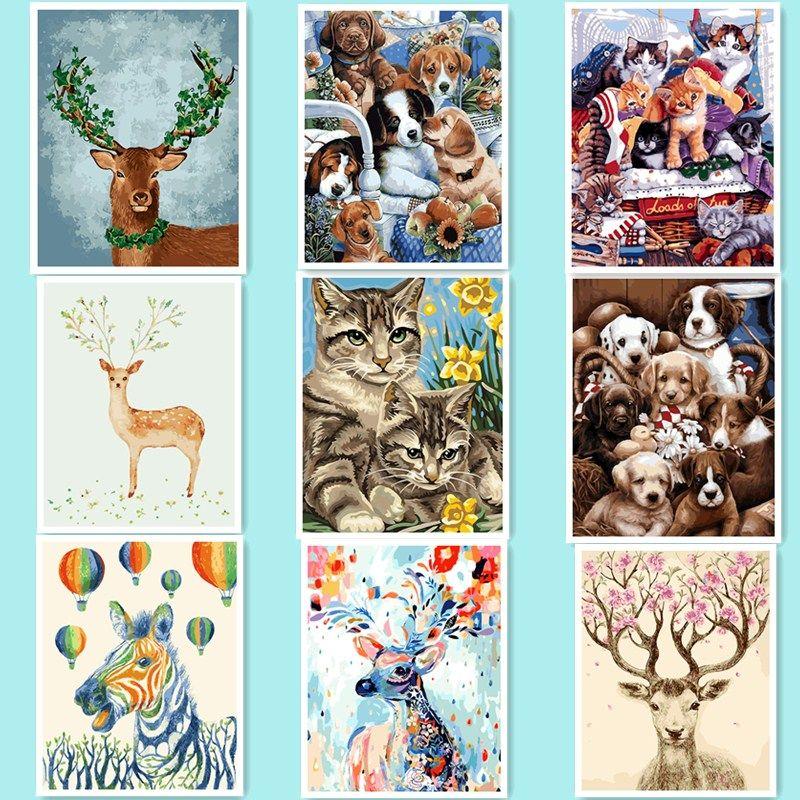 Mignon cerfs 40x50 cm sans cadre accueil décor photos peinture by numéros bricolage peinture à l'huile peinture abstraite by nombre kits chien chat wq30