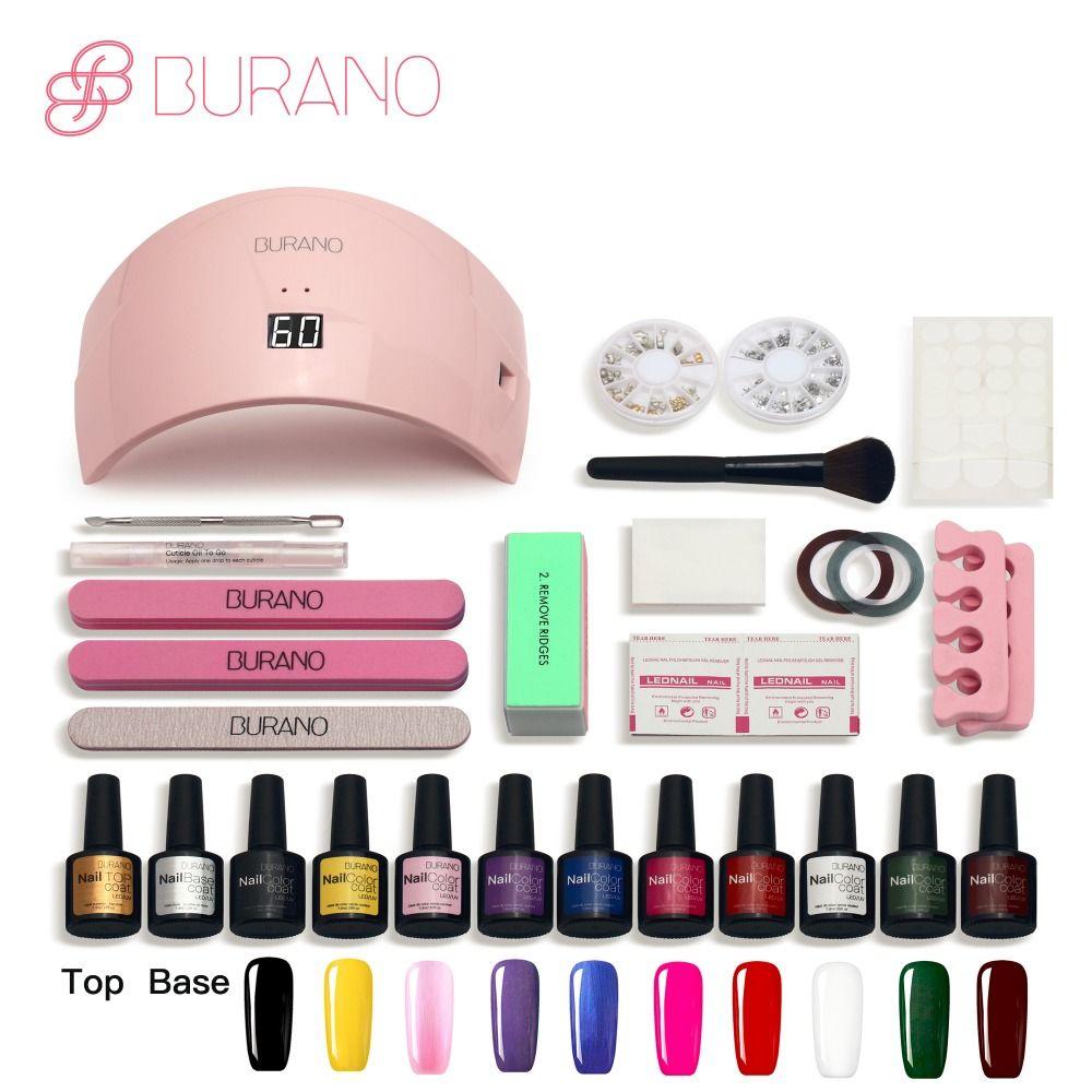 set for manicure BURANO nail kit set gel varnish set 10 color uv gel polish 36w\24w led lamp gel varnish nail polish set