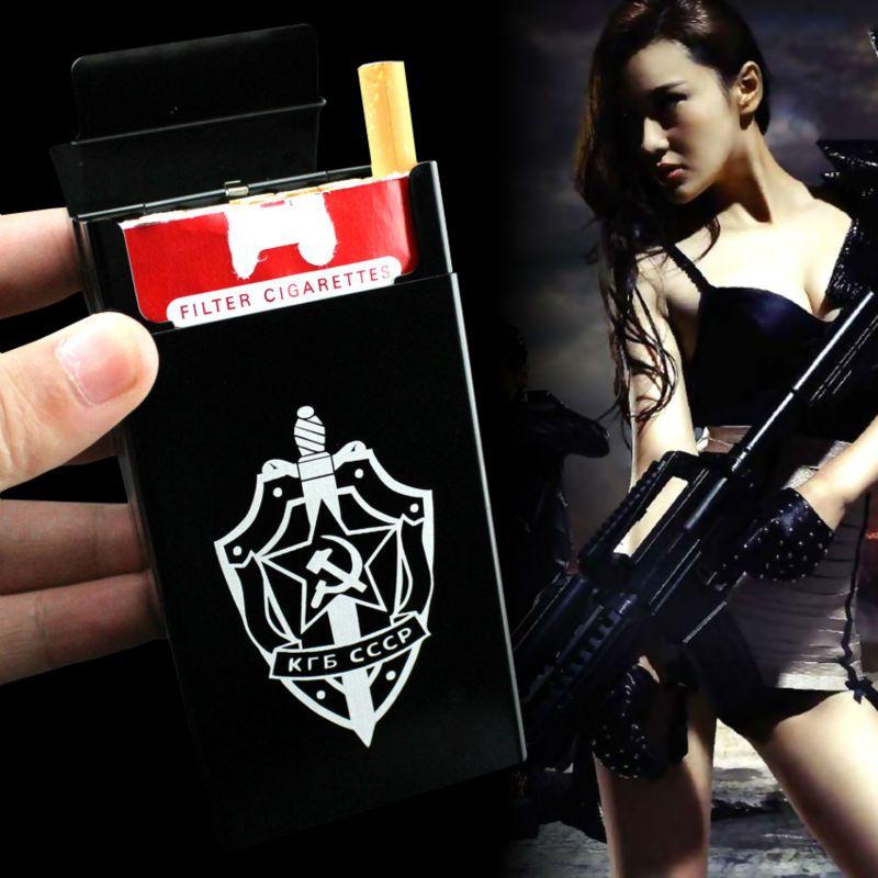 Union soviétique KGB Spy BETEPAH Badge Emblème Médaille Armée Badge Décret sur la médaille Militaire En Alliage D'aluminium En Métal 20 PCS Étui à Cigarettes boîte