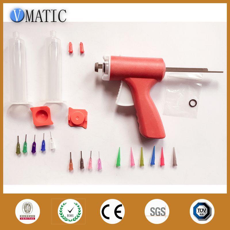 Manuell einzelnen flüssigkeit klebepistole 10CC Gemeinsame 1 STÜCKE + 10CC kegel + abgabe Nadelspitzen + Spritze mit Roter kappe und Rot abdeckung