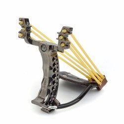 Professional Two rubber band traditional slingshot pom high strength steel Hunting Catapult Hunter Folding Wrist Sling Shot