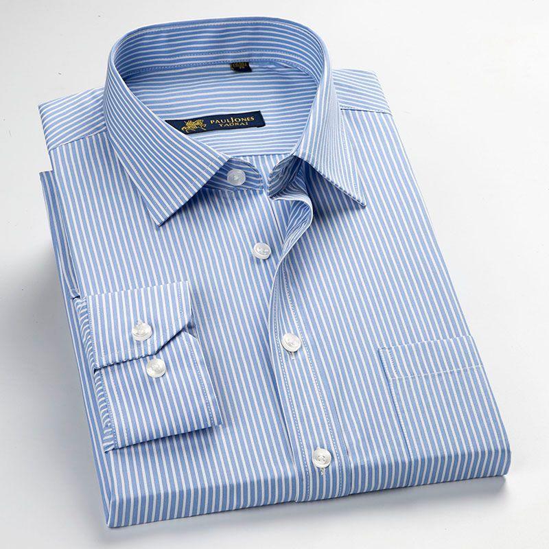 Men's Long Sleeve Blue/white Pin-Stripes Dress Shirt with Left Chest Pocket Regular-fit Formal Business Work Office Tops Shirt
