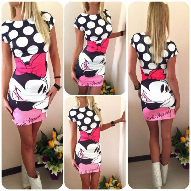 Été décontracté vêtements pour femmes élégant et élégant à manches courtes col rond sac hanche mini robe Sexy chic 3D robe Mickey Mouse