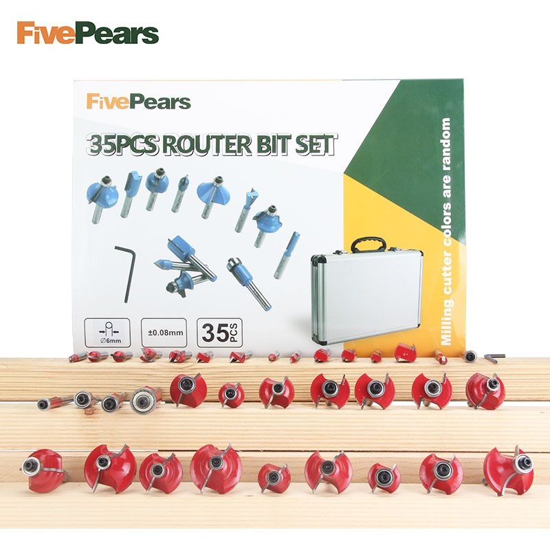 FivePears 35pcs 6mm Router Bits Set Professional Shank Tungsten Carbide Router Bit Cutter Set With Wooden Case For Wood
