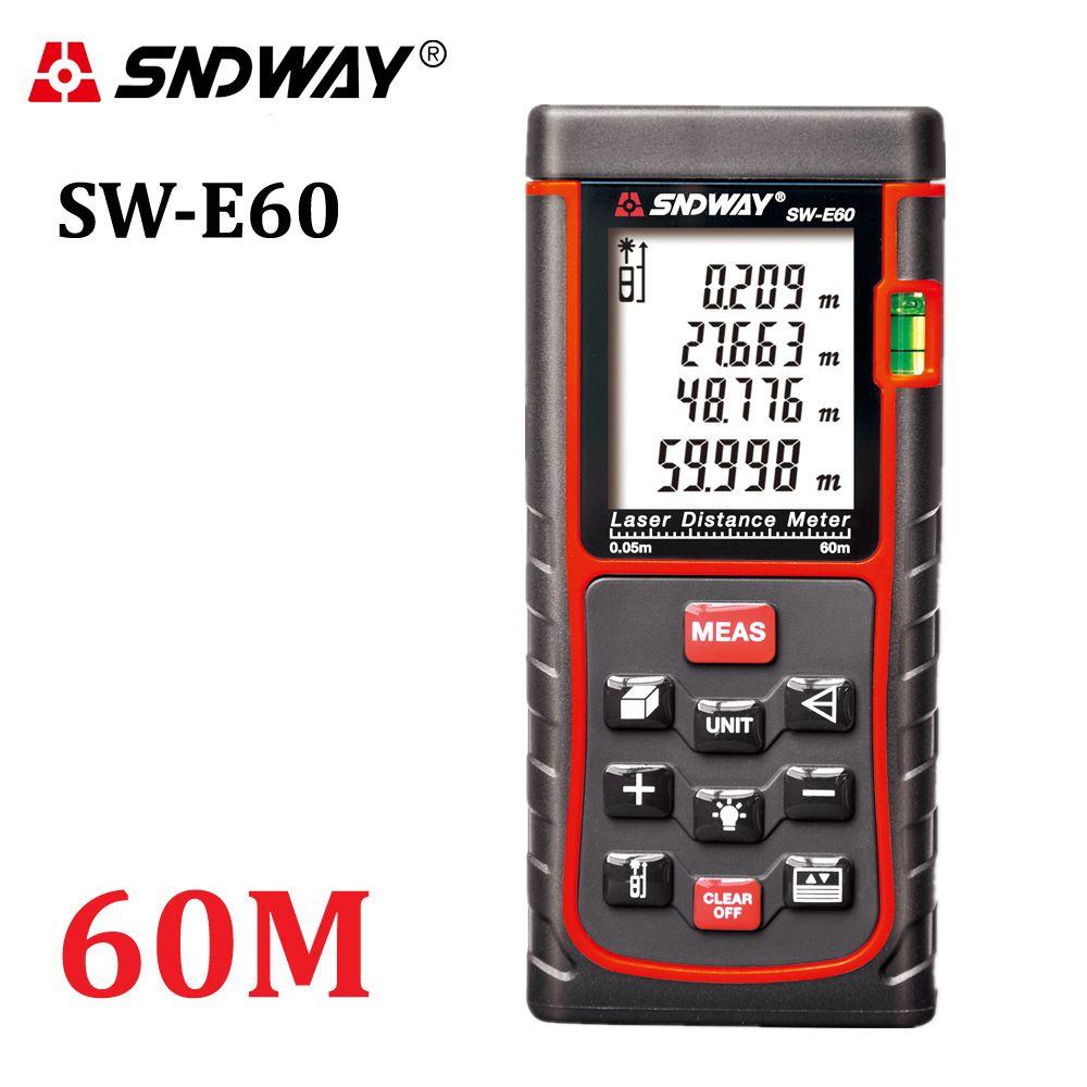 SNDWAY-E60 197ft Laser distance meter Rangefinder Digital Range Finder 60m Area-volume-Angle hunting laser measure tape tool