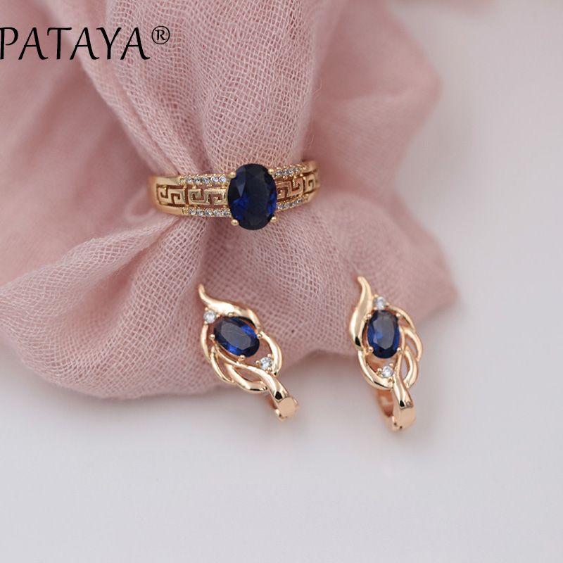 PATAYA New Arrivals Women 585 Rose Gold Short Eardrop Vintage Earrings Rings Sets Dark Blue Oval Natural Zircon Fine Jewelry Set