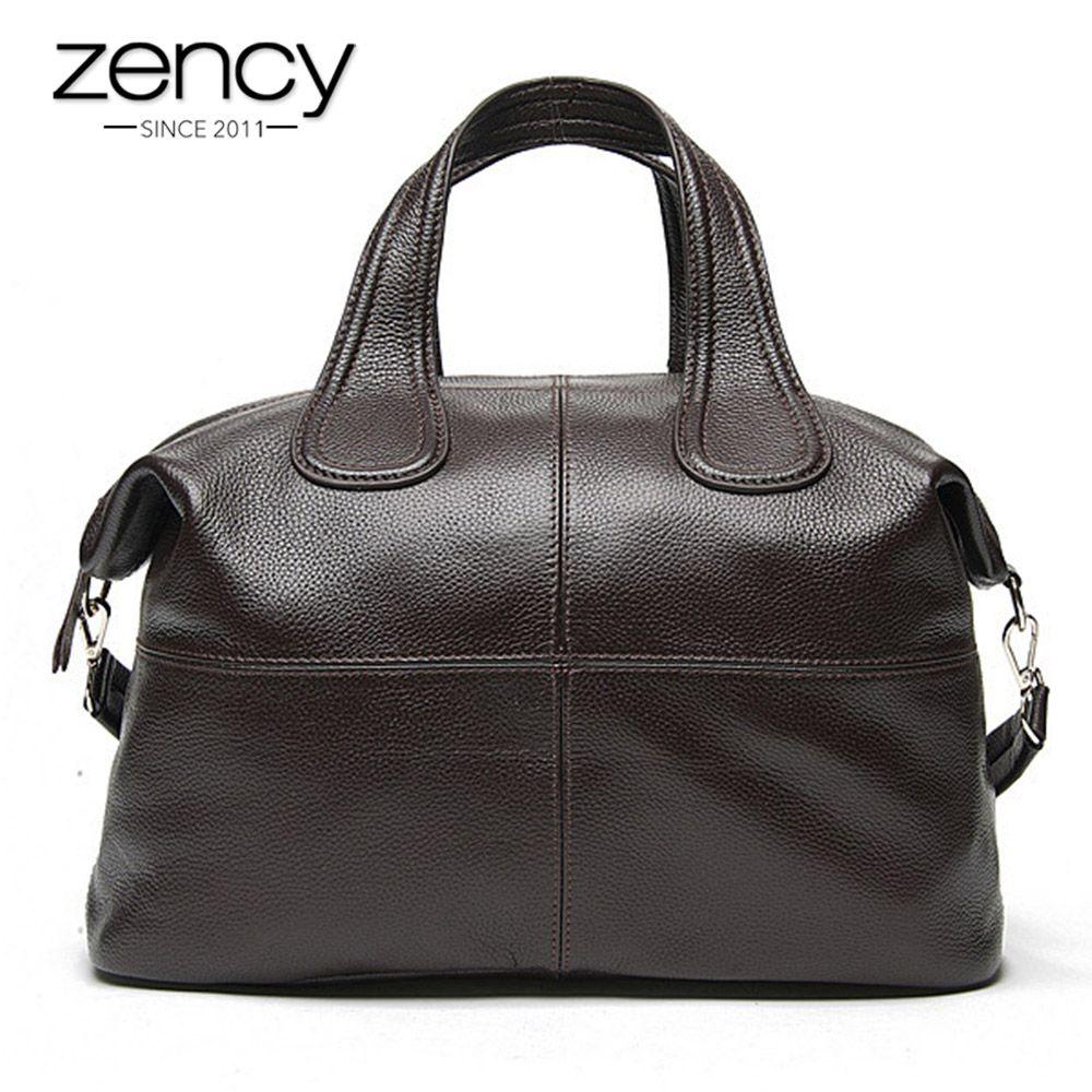 Zency 100% Genuine Leather Women Handbag Coffee Ladies Tote Bags Classic Black Messenger Crossbody Purse Boston Shoulder Bag