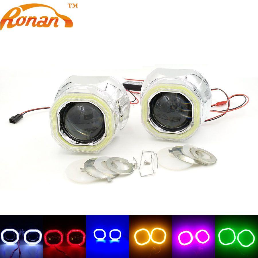 RONAN 2.5 ''Bi Xénon Mini Projecteur Lentille avec Carré COB Ange yeux 12 V Parking Voiture Style Automobile Phares pour H1 H4 H7