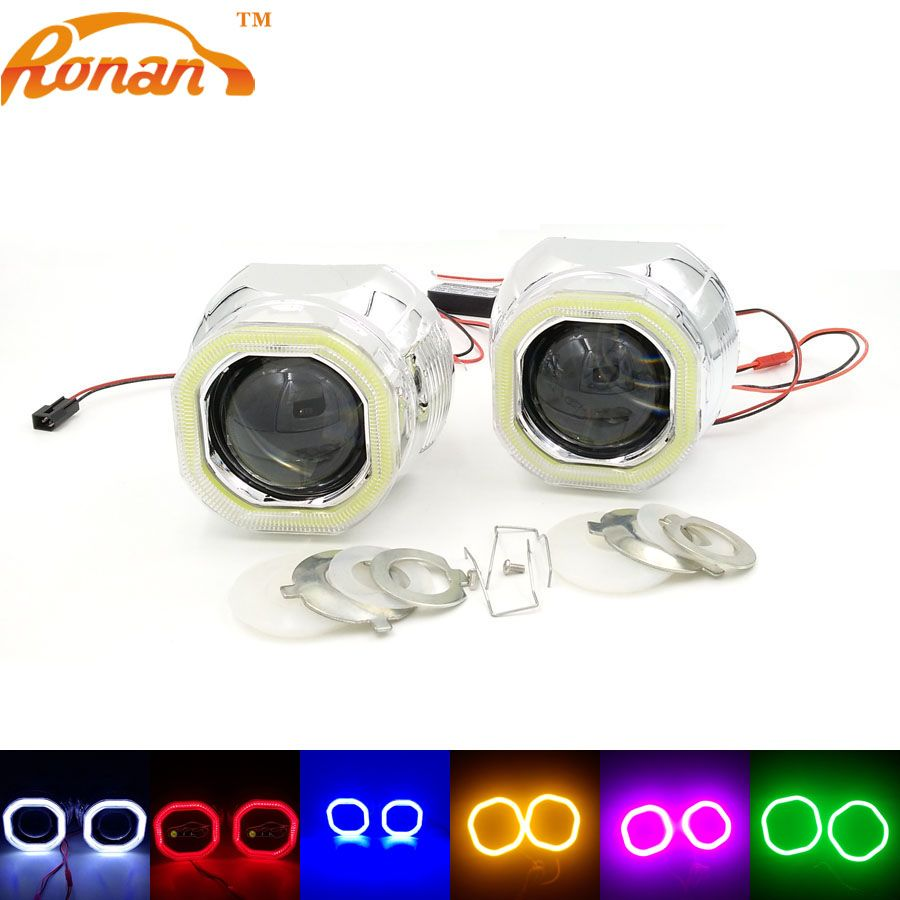 RONAN 2.5''Bi Xenon Mini Projector Lens with Square COB Angel Eyes 12V Parking Car Styling Automobile Headlights  for H1 H4 H7