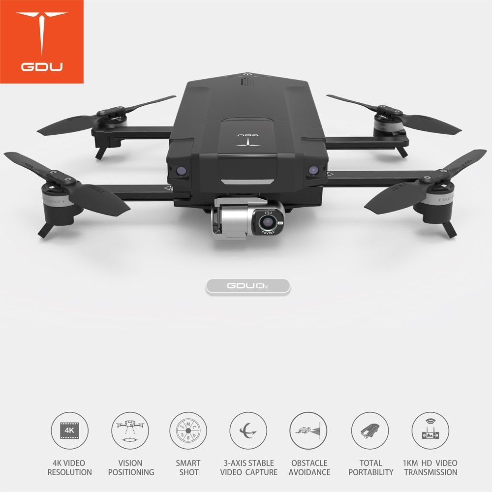 GDU O2 Fly More Combo Drone with 4K Camera 3 Axis Gimbal Foldable RC Helicopter FPV Quadcopter Standard Package New and Original