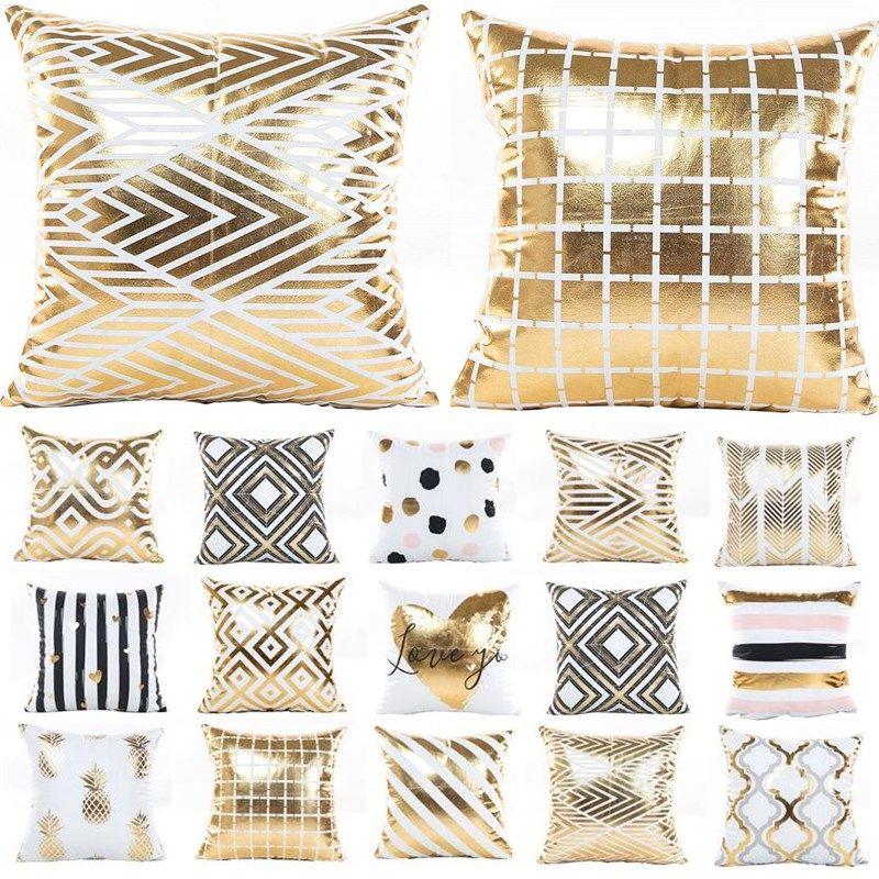 Bronzing Pineapple Geometric Christmas Pattern Golden Throw Pillow Cushion Cover Home Decoration Decorative Pillowcase 40432