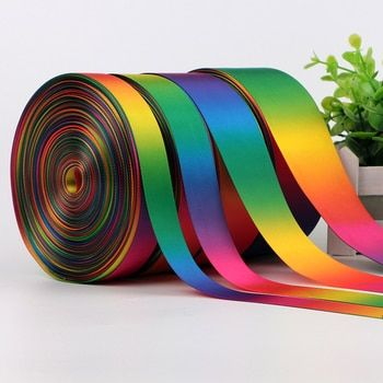 50 Yards Rainbow Ribbon Printed Polyester Ribbon DIY Handmade Materials Wedding Gift Wrap High Quality 1D