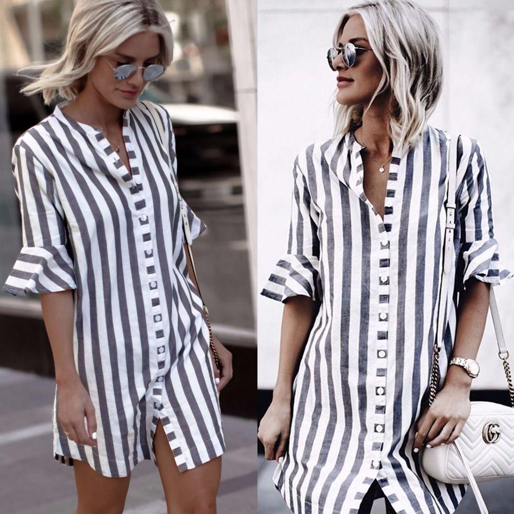 2018 New arrivals fashion women blue white striped half ruffle sleeve stand <font><b>collar</b></font> women long button shirt women tops
