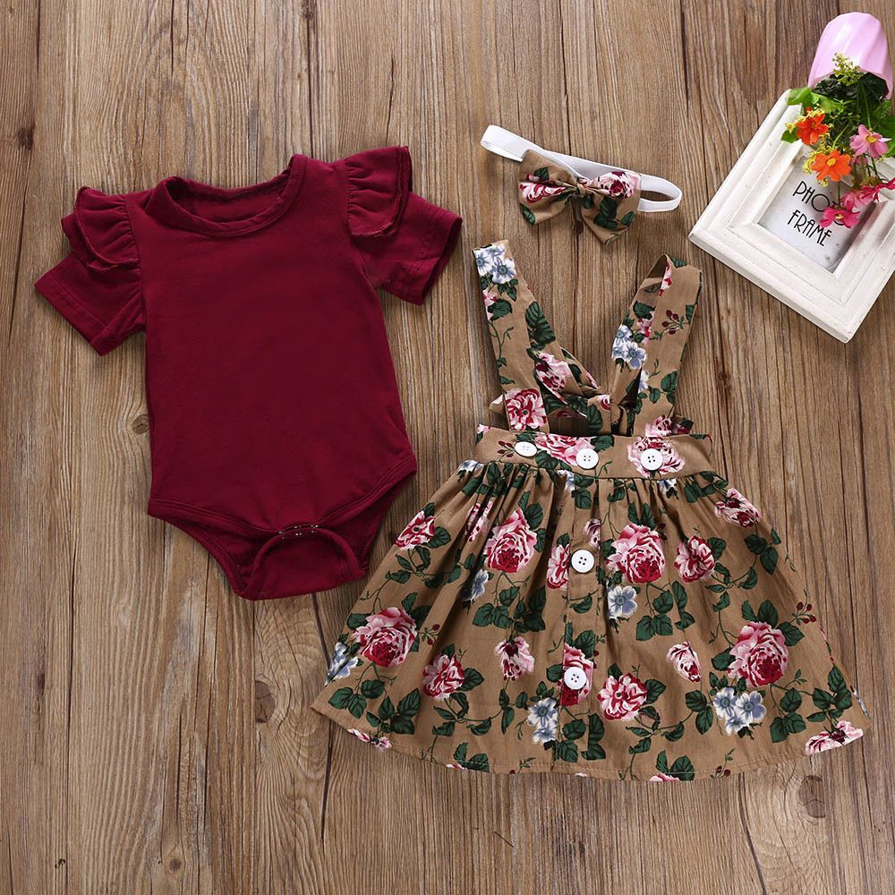 Telotuny kid Casual Clothing Set 100% Cotton 3Pcs Baby Toddler Girls Kids Overalls Skirt +Headband+Romper Clothes Outfits JU 133