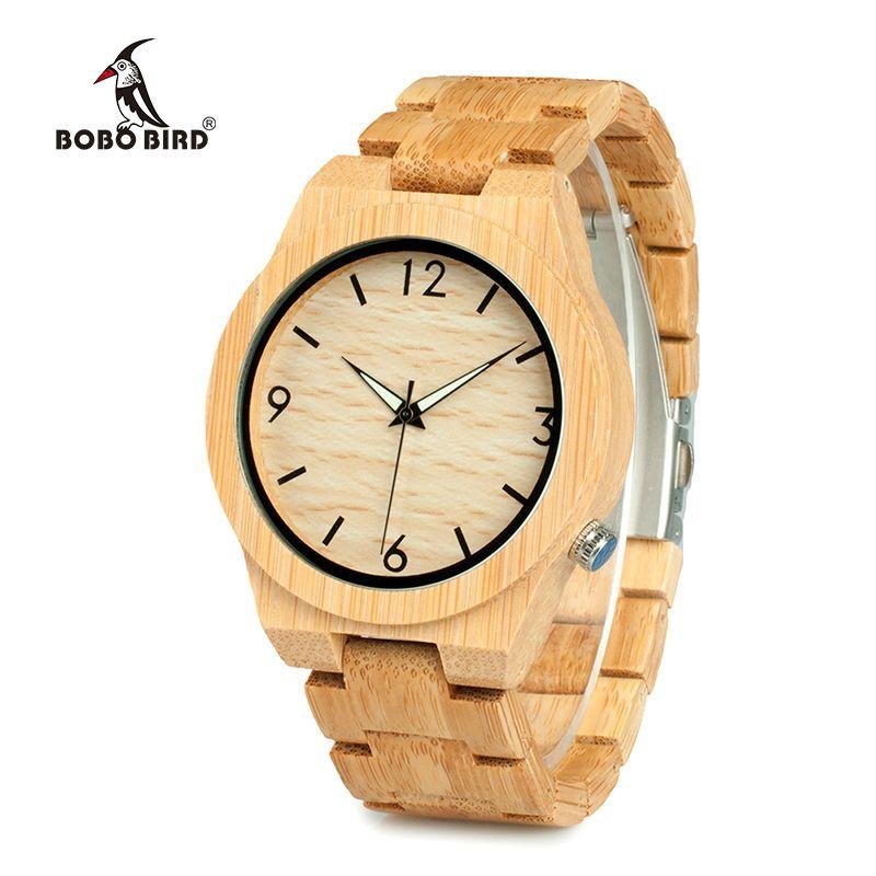 BOBO BIRD WD27 Bamboo Wooden Watch for Men Unique Lug Design Top Brand Luxury Quartz Wood Band Night Green Pointer Wrist Watches