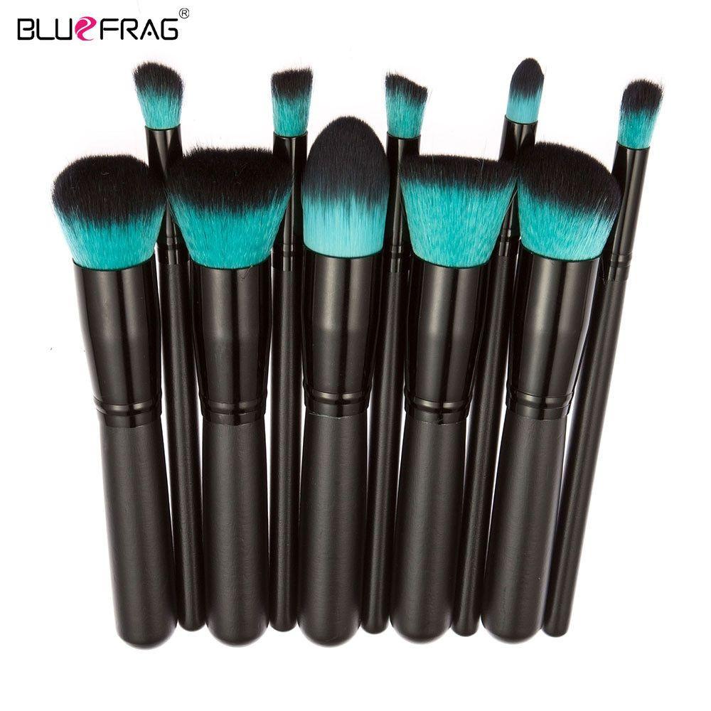 BLUEFRAG Pro Maquillage Brush Set Poudre Fondation Brosse À Sourcils Fard À Paupières Cosmétique Make Up Outils Trousse de Toilette pour Femmes 10 Pcs/ensemble