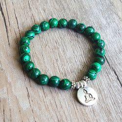 DIY Handgemachten Schmuck Malachit Perlen Armband Yoga Chakra Gebet Mala Buddha Armband Frauen Männer Strang Charme Armband