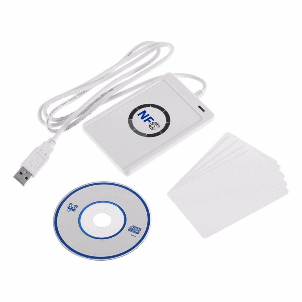NFC ACR122U RFID Smart Card Reader Writer Copier Duplicator Writable USB S50 13.56mhz ISO/IEC18092+5pcs M1 Cards
