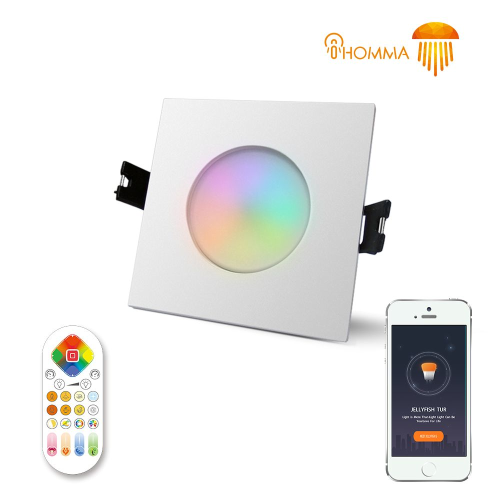 iHomma White Square IP65 Waterproof Smart LED Downlight Recessed Light iOS/Android APP and IR Remotr Control Dimmable RGBWW