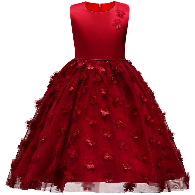 2018 Del Verano Muchachas de flor Vestido de Niña de Navidad Ropa Sin Mangas Princesa Vestidos de Traje de La Muchacha Embroma la ropa