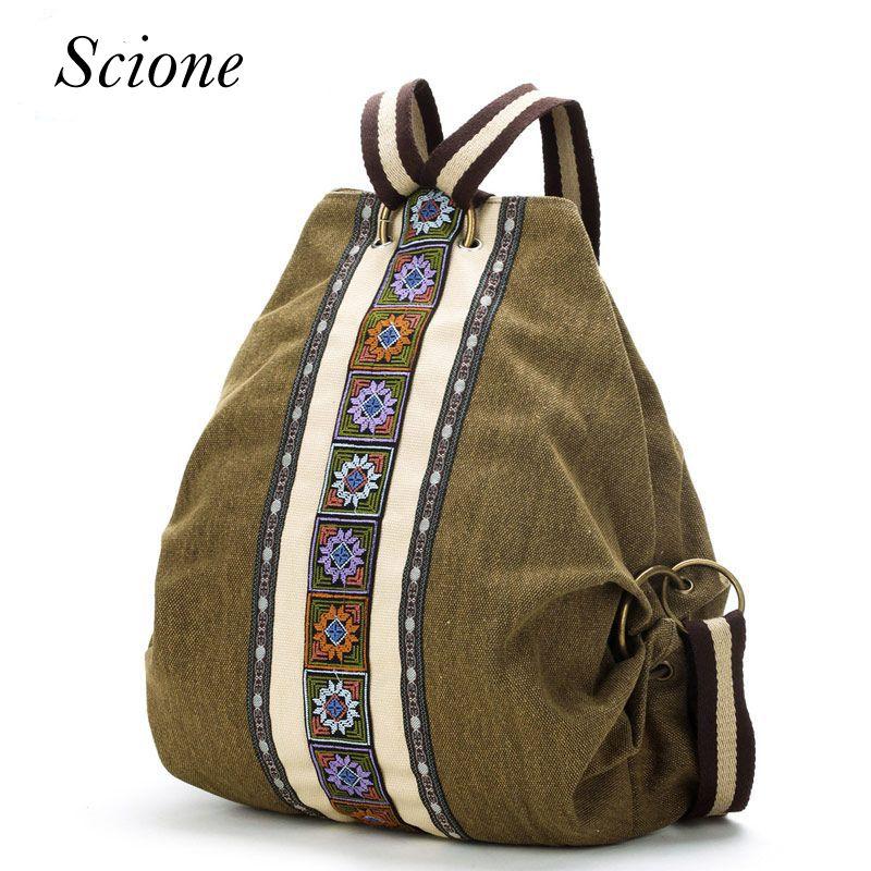 Canvas National Tribal Ethnic Embroidered Floral Backpacks Women's Travel Rucksack Mochila School Shoulder bag Sac a Femme Li243