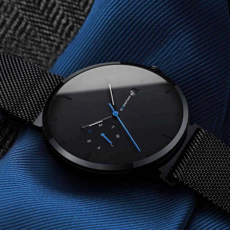 New Watch Men Fashion Casual Quartz Watches Waterproof Blue Point Simple Men Wristwatch Male Date Week Clock Relogio Masculino