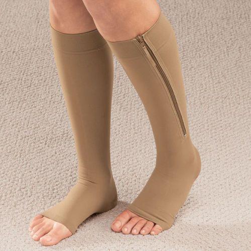 Женская обувь на застежке-молнии сжатия Носки для девочек молния Slim Leg Поддержка колена Сокс открытым носком Носок S/М/xl